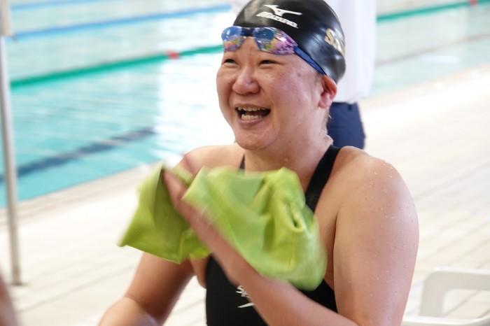 50メートル背泳ぎS5を終えた、成田真由美(横浜サクラ) 写真・久下真以子