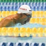 100メートル平泳ぎSB6を泳ぐ中村智太郎(日阪製作所) 写真・吉村もと