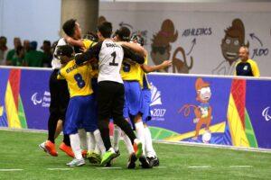 PHOTO:João Maia/ジョアン・マイヤー TEAM:Brazil national Youth team 説明:Legenda - Uniao Modalidade futebol de 5 Ca tegan 2017 サンパウロ2017 2017 Youth Parapan American Gamesで、5人制サッカーの試合での一こま。 撮影日:2017年3月25日