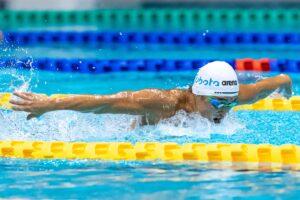 男子100mバタフライS9 決勝を泳ぐ久保大樹 写真・秋冨哲生