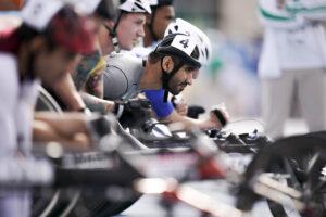 男子100mT34の決勝に臨む開催国・アラブ首長国連邦のモハメド・アルハマディ(ALHAMMADI Mohamed/T34) 写真・パラスポ/小川和行