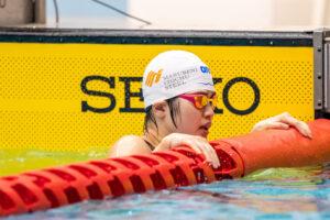 女子50m自由形S11予選を東京パラリンピック派遣基準を突破したタイムで泳ぎ終えた石浦智美(伊藤忠丸紅鉄鋼) 写真・秋冨哲生