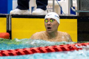 男子50m平泳ぎS14を泳ぐ山口尚秀 写真・秋冨哲夫