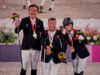 Tokyo 2020 Paralympic Games - Individual Grade II Pepo Puch (AUT) silver, Lee Pearson (GBR) gold, and Georgia Wilson (GBR) bronze on the podium at the grade 2 individual medal ceremony   Photo Copyright © FEI/Liz Gregg