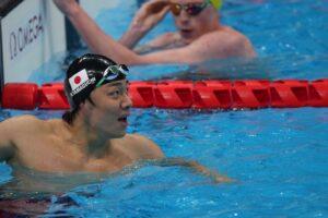 世界記録の男子100m平泳ぎS14を泳ぎ終えた山口尚秀 写真・秋冨哲生