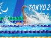 8月30日、女子50m背泳ぎを泳いだ成田真由美 写真・中村 Manto 真人