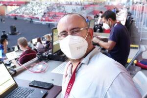 スペインから来た記者のRamonさん。「日本の夏は蒸し暑い!」